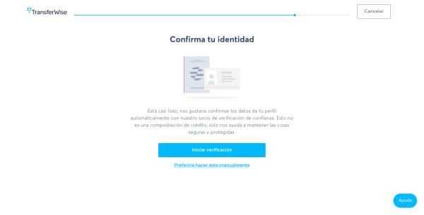 Confirmación de identidad Cuenta Borderless