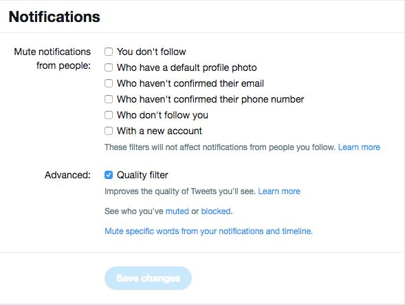 Twitter filtros