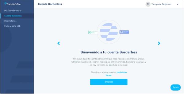 creación de una Cuenta Borderless