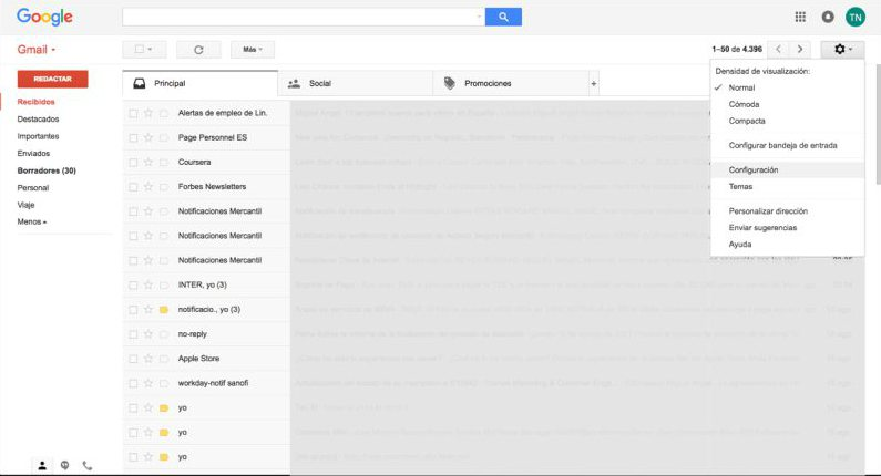 Gmail Configuración Normal