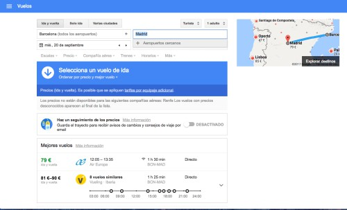 Google Flights aeropuertos cercanos