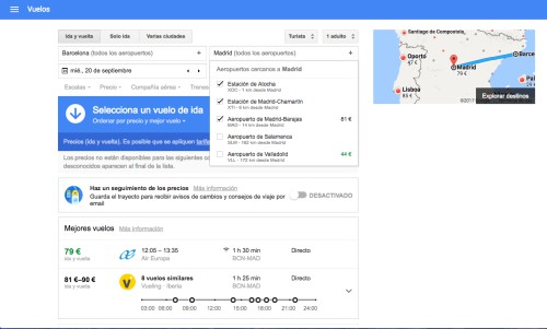 Google Flights aeropuertos
