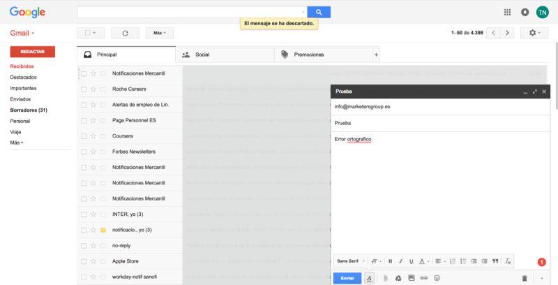 deshacer el envío de un correo electrónico